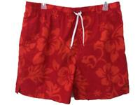 Greg Norman bathing suit swim trunks Size 2XL mens red tropical mesh lined