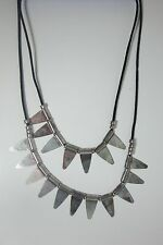 Silver Double Triangle Tribal Necklace