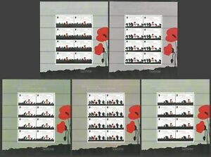 GIBRALTAR 2016 MILITARY WORLD WAR I BATTLE OF THE SOMME SET OF 5 M/SHEETS MNH