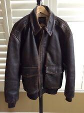 Vintage Avirex A-2 Men Sz L Stars & Stripes Forever Leather Bomber Flight Jacket