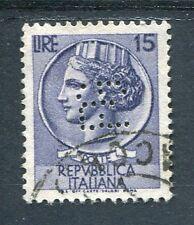 ITALIE - 1953-54, timbre 648, perdoré, type SYRACUSAINE, oblitéré