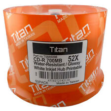 100 Titan CD-R 52X Semi-Gloss (Glossy) Water Resistant White Inkjet Printable