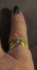 Vintage Pure 14K Yellow Gold 14K White Gold Ring Carved Designer Signed Sz 6-1/4