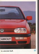 Catalogue brochure Katalog Prospekt VOLKSWAGEN GOLF CABRIOLET ANNEE1995 33 Pages