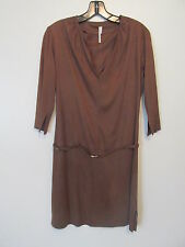 MaxStudio.com Brown V-Neck Sueded Poly Drop Waist Belted  Dress  SIZE:S