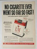 Vintage L&M Cigarettes Print Ad 1954 Liggett & Myers Life Magazine Advertising