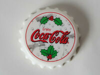 "Rare WHITE COCA COLA Bottle Cap Shaped Opener & Twist 3"" Fridge Magnet EXCELLENT"