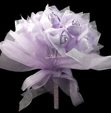 Purple Roses Silk Satin Princess Wedding Bridal Flower Girls Bouquet Centerpiece