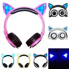 Wired Foldable Stylish Cat Ear LED Headphones Headsets Earphones School Gift Kid
