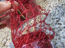 """NEW 60 FT RED OPEN WEAVE CRAFT RIBBON STRETCHY W/WIRE 4"""" WIDE FREE SHIP"""