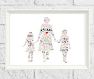 Personalised Grandma Nanny Grandchild Print Word Art Christmas gift for Nan
