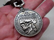 POSTHUMOUS SERVICE MEDAL SKULL COIN GOTHIC PIRATE PENDANT LEATHER NECKLACE UK