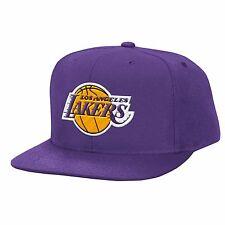 Los Angeles LA Lakers NBA Mitchell & Ness Solid Logo Hat Snapback Cap Purple