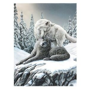 SNOW KISSES SMALL CANVAS PICTURE ART PRINT LISA PARKER GOTHIC FANTASY WOLF DOGS