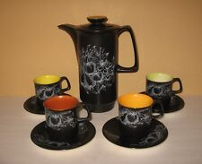 Vintage Crown Devon Fieldings Black Coffee Pot 4 Cups Set Flower England
