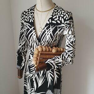 Diane Von Furstenberg DVF Black White Patterned Silk Maxi Dress US6 10