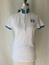 La Martina Hamptons Summer Polo Season Women's Polo White Shirt wit Turquoise. M