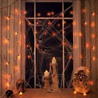 2 x 50 LED Halloween Orange Curtain String Lights Window Spooky Party Decoration