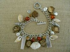 Beach Tropical Handmade Wood Shell Mother of Pearl Silver Charm Bracelet