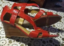 NEW ♡ NINE WEST ♡ WOMEN'S RED LEATHER WEDGE SANDALS SHOES ♡ SIZE 9