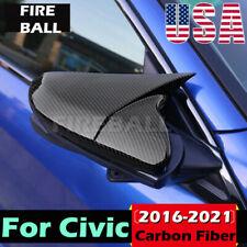 For Honda Civic 2016 17 18 19 21 Ox Horn Carbon Fiber Rear View Mirror Cover Cap Fits Honda