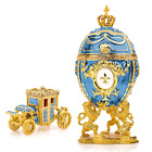 """Royal Imperial Aqua Faberge Egg Replica: Extra Large 6.6"""" with Faberge carriage"""