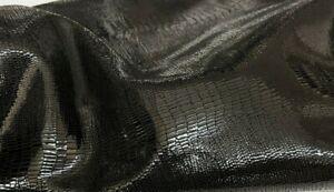 BLACK TEJUS shiny Italian Goatskin Goat leather 2 skins 6sqf 1.0mm #A7346