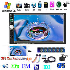 "7"" Car Radio Stereo GPS Navigation  Camera MP5 Player Bluetooth USB SD AUX 2 DIN"