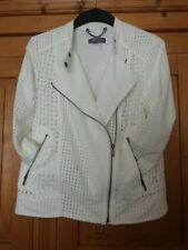 Ladies White Cotton Lace Biker Jacket Size 10 MINT VELVET