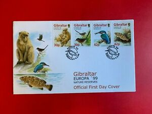 GIBRALTAR 1999 FDC EUROPA KINGFISHER DARTFORD WARBLER MACAQUE PERCH FISH MONKEY