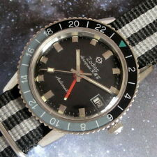 Mens Original 1960s Zodiac AEROSPACE GMT Automatic S/S Hacking DATE Pilots Watch