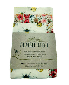 Bees & Flowers Natural Beeswax Food Wraps, Assorted Sizes Pack Of 3