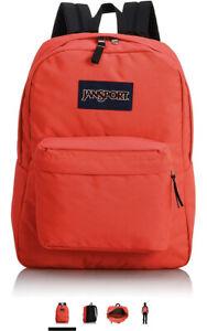 JanSport Superbreak Fluorescent Red Backpack Bag NEW NWT