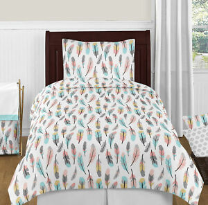 Sweet Jojo Bohemian Feather Coral Aqua Pink Gray & White Girl Twin Bedding Set