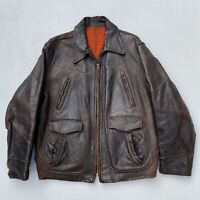 VINTAGE Horsehide Leather MOTORCYCLE JACKET Large 1940s 1950s Distressed Prop
