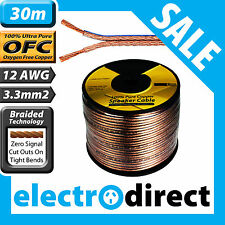 30m 12AWG (3.3mm2) Speaker Cable Reel 100% Pure Copper OFC - 12 Guage Wire Roll