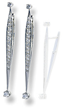 Modern Sleek Design Extra Long Drop Earrings 14k White Gold Leverback