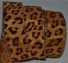 """Wired Ribbon~Glitz Sparkle Leopard Spot~Safari~Copper~Brown~ Wild Cat~1 1/2""""~Bow"""