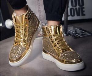 Men's High Top Board Shoes Rivet Bling Bling Sequins Sport Sneaker Casual Boots