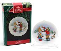 Hallmark Keepsake Ornament Let It Snow! 1991 Collector's Plate Snowman Christmas