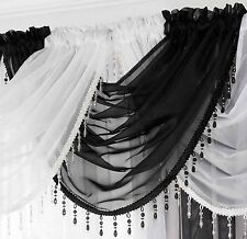 Ready Made Voile Swag X1 Drape Pelmet Curtain Crystal Beaded Trim Swags 56x45cm Black