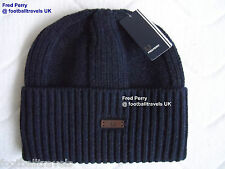FRED PERRY CHUNKY RIBBED NAVY Wool Beanie Hat Tags NEW Mens Winter Warm