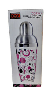 """OGGI """"Cosmo"""" Glass & Stainless Steel Cocktail Shaker New in Box 26 oz."""