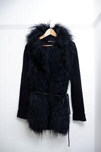 elizabeth & James Black 100% Lane Wool Cardigan Jacket S Small Uk 8 10 Sheep Fur