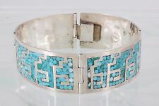 Mexico Bracelet Fine 925 2089B Castaneda Crushed Turquoise Sterling Silver