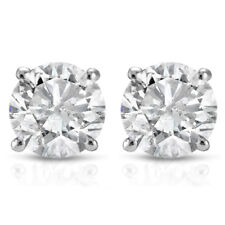 Unisex Silver Round Cut Solitaire Circle Lab Simulated Diamond Stud Earrings