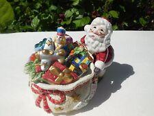 "Fitz & Floyd Santa Lidded ""Candy Christmas"" Box Santa'S Toy Bag"