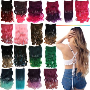 """24"""" Synthetic Ombre Curly/Straight/Wavy Dip-Dye One -Piece 5 Hair Ext. Clip in"""