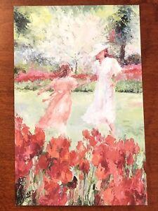 """4""""x6"""" postcard/print GIRLS IN GARDEN Henrietta Milan impressionist painter Texas"""