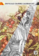 """Coloring Calendar 2017 (12 pages 8""""x11"""") Flower Fairy Fantasy Vintage FLONZ 1005"""
